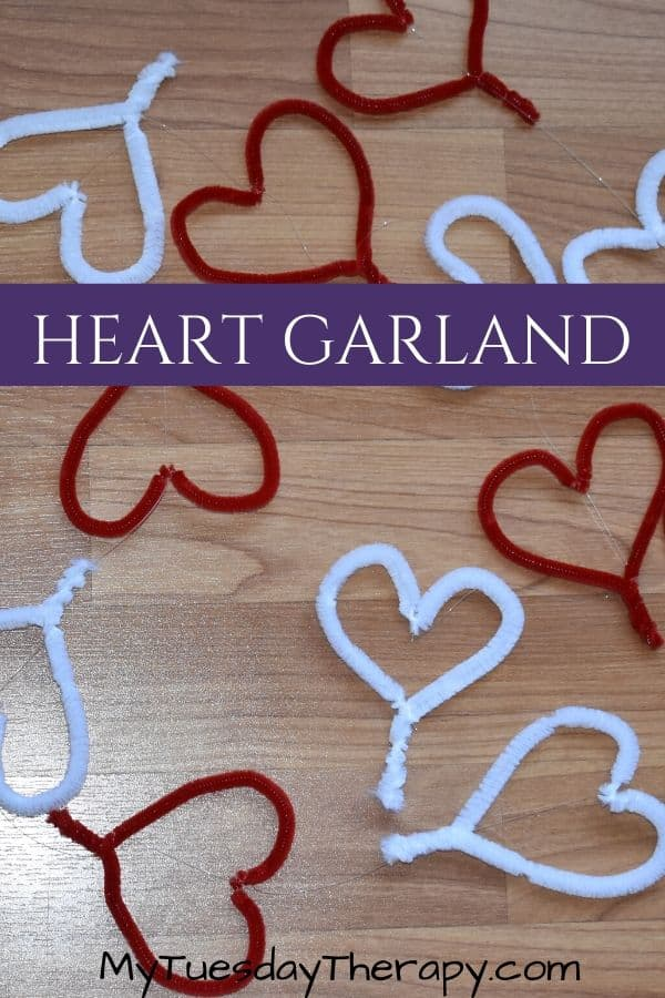 Pipe Cleaner Heart Garland DIY. Easy Valentine's Craft for Kids.