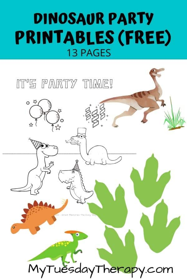 Dinosaur party printables. Coloring pages, dinosaur photo props, footprints.