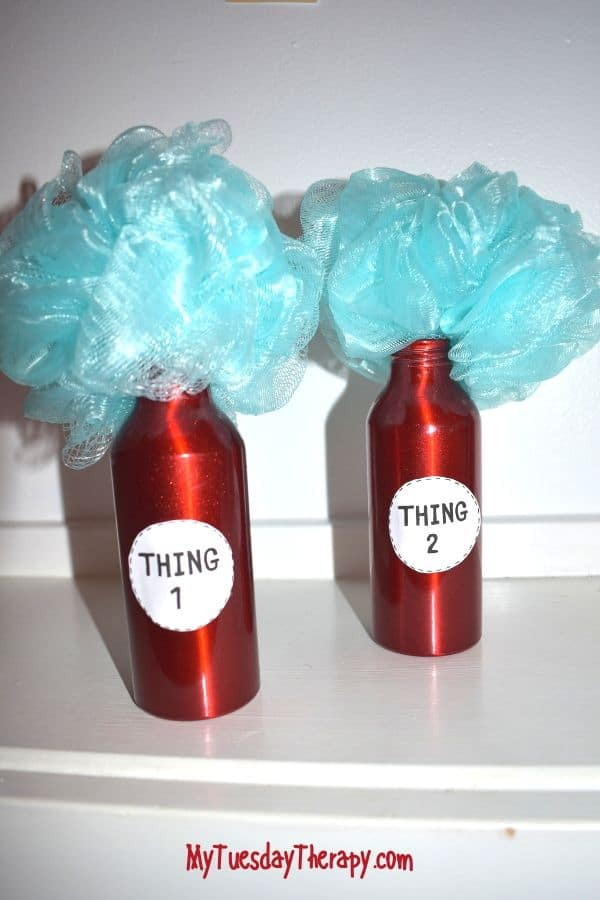 Dollar Store DIY Thing 1 and Thing 2 Dr. Seuss party decoration.