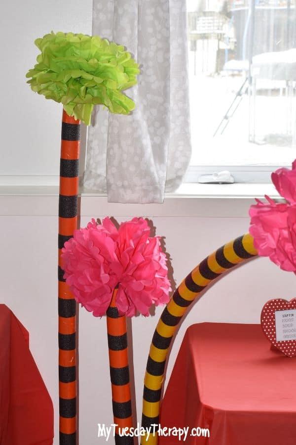 DIY Truffula Trees. Easy Dr. Seuss party decoration.