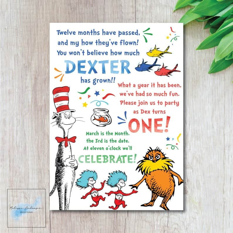 Dr. Seuss Party Invitation with beloved Dr. Seuss Characters. Great for baby showers or birthdays. (MelissaAndersonShop)