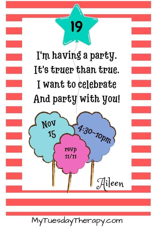 Dr Seuss Party Invitation DIY. Invitation wording idea.