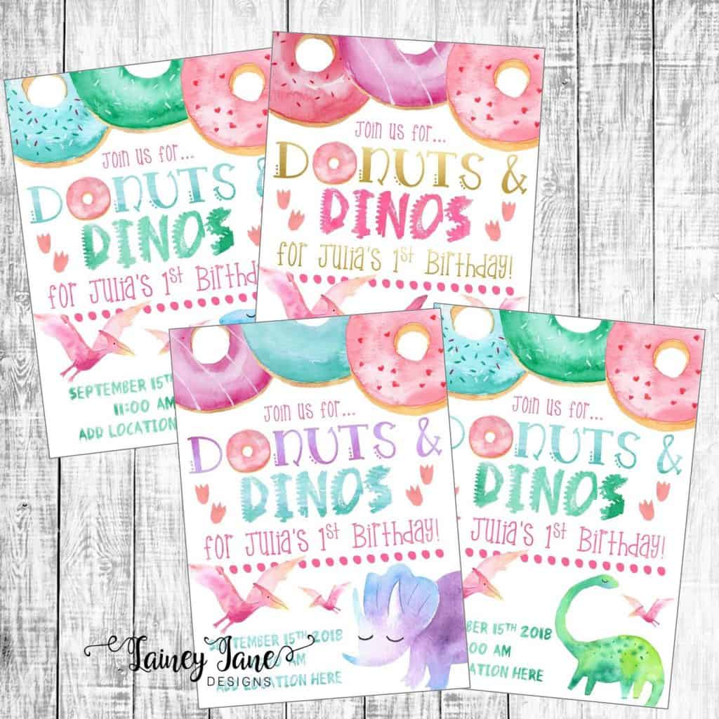 Donuts and Dinos Birthday Party Invitation (laineyjanedesigns)