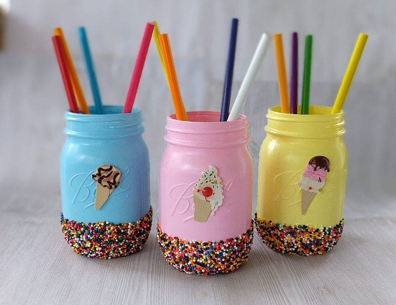 Ice Cream Party Mason Jar Decorations in blue, pink and yellow. Perfect for any ice cream social. (peppercornprincess)