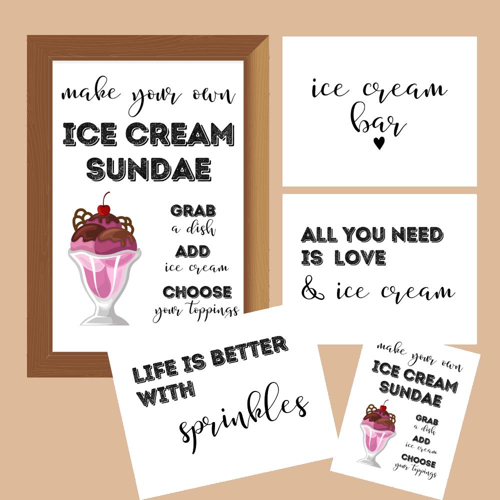 Ice Cream Sundae Bar Printable. Fun ice cream party idea.