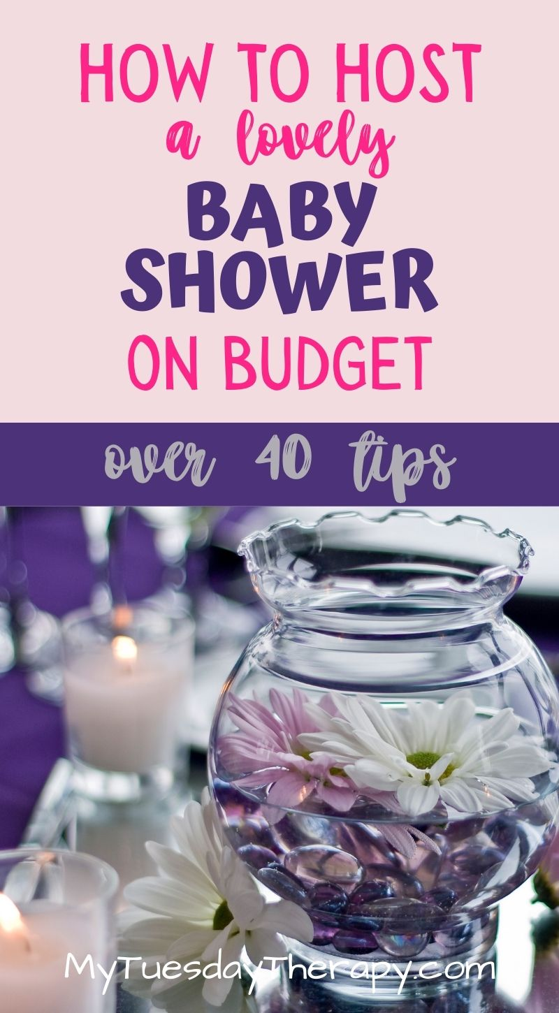 How to host a lovely baby shower on budget. Over 40 tips. A glass jar filled with water and flowers.