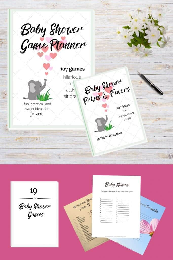 baby shower game planner, baby shower game and activity ideas, baby shower favor tag wording ideas and printable favor tags, baby shower game printables in neutral design