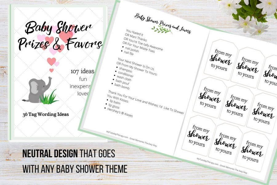 Baby shower prize and favor ideas, baby shower favor tags in neutral design.