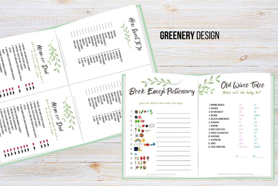 Greenery baby shower game printables in two sizes.