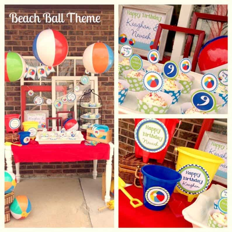 Beach Ball Party Theme Printables from LaurenHaddoxDesign