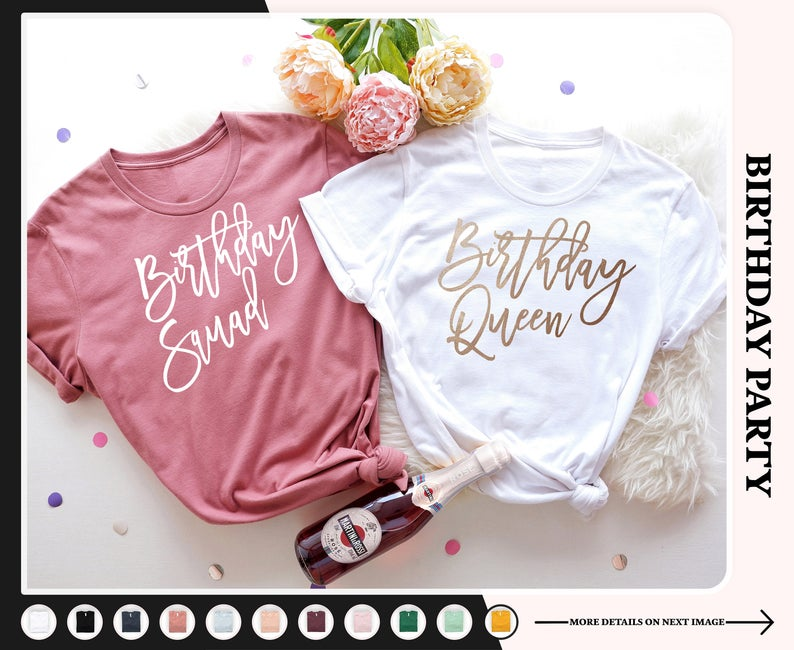 Birthday Squad and Queen Shirt for Teens (viberack)