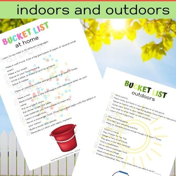Bucket list for kids, tweens. Things to do at home indoors and outdoors.