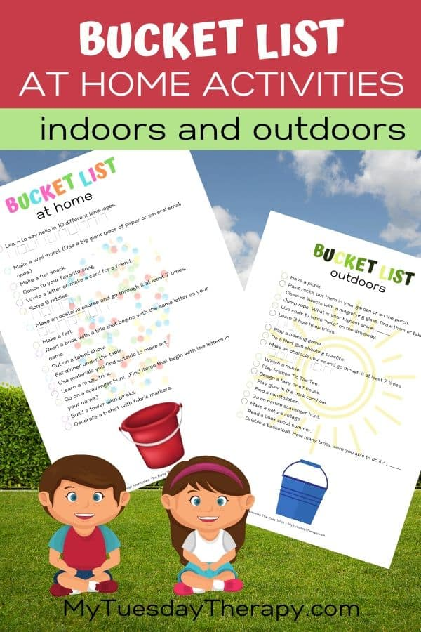Bucket list ideas for kids. Activity ideas for kids they can do at home or in the bakcyard.