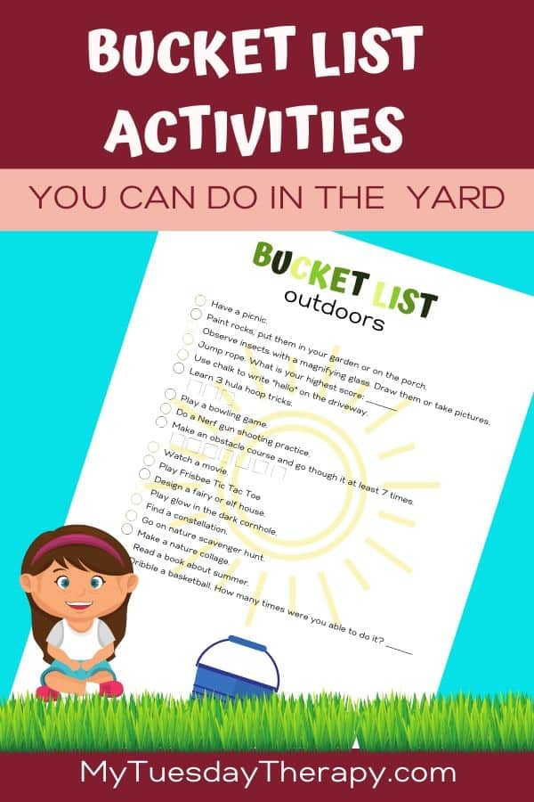 Bucket List for Kids. Things to do outdoors in the backyard.