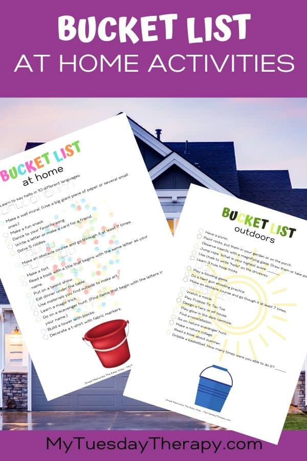 Bucket list for kids. Activities for kids you can do at home.