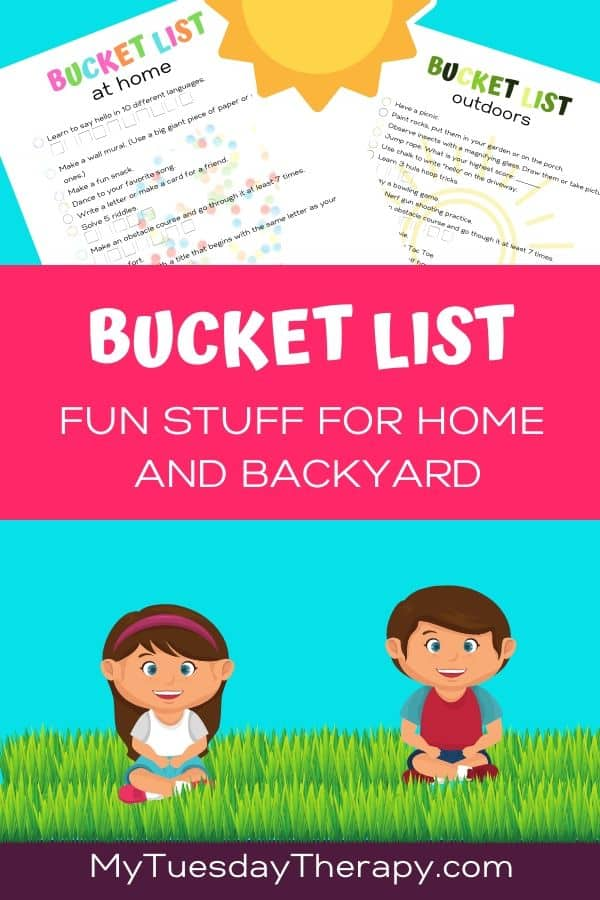 Bucket List Ideas for Kids. Fun things to do indoors and outdoors.