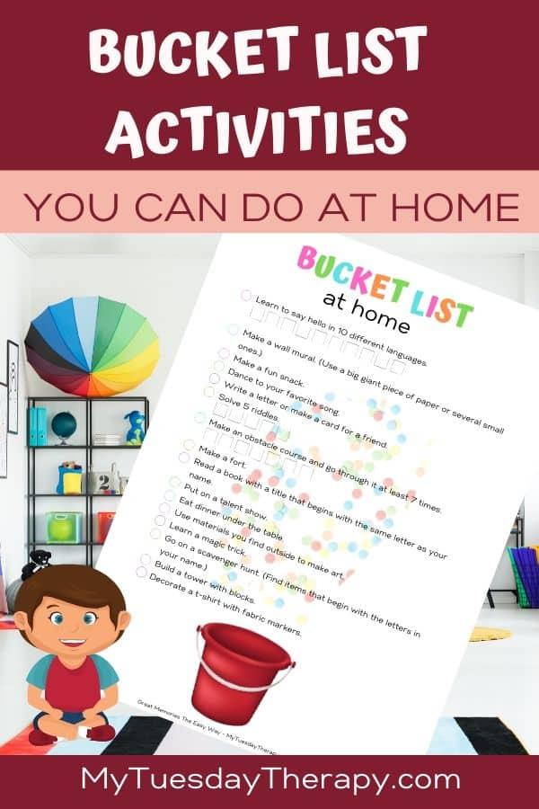 Bucket list for kids. Things to do at home.
