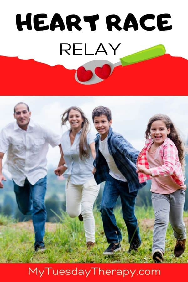 Heart Race Relay. A fun game for kids on Valentines or any day. Play games in the backyard or inside.