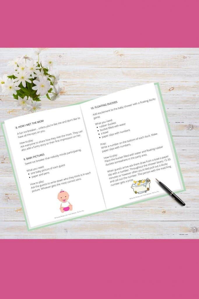 How I met the mom and floating duckies baby shower game included in the baby shower game guide and planner.