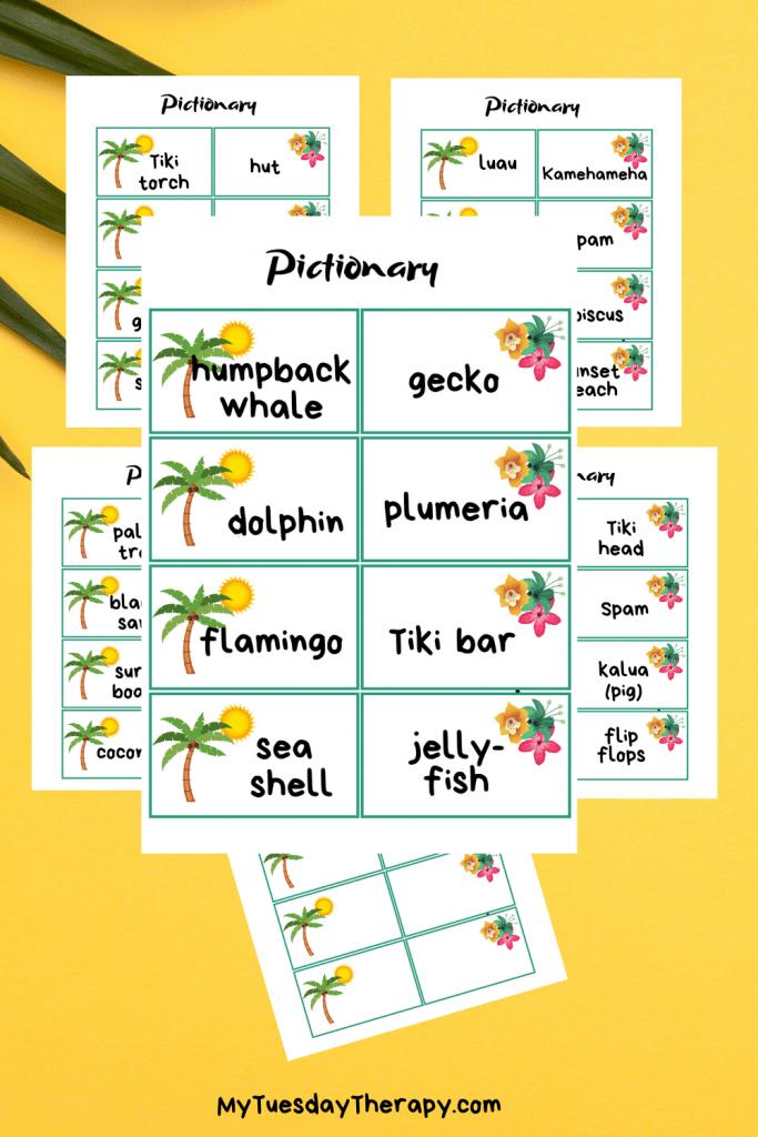 Hawaiian Luau Pictionary Word Cards. A fun game for summer luau party.
