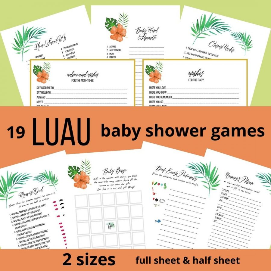 19 Luau Baby Shower Games in 2 sizes: full and half sheet.