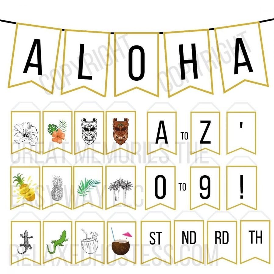Luau banner printable pdf. Letters from a to Z, numbers from 0 to 9, 18 luau themed images.