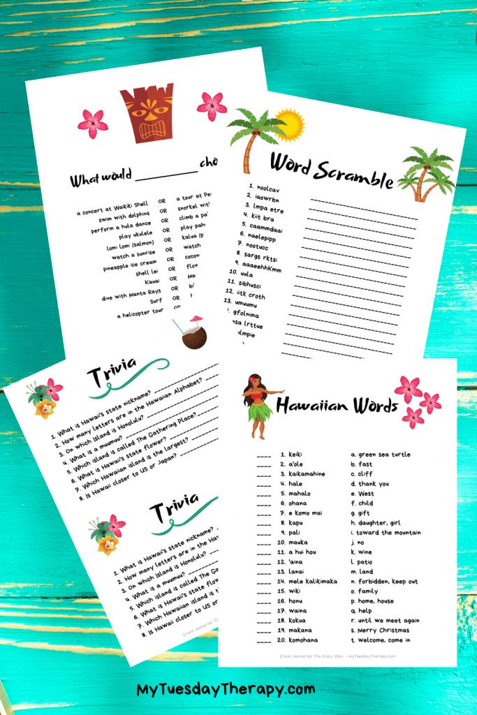 Luau game printables. Hawaiian trivia, Hawaiian word match, word scramble and what would he choose.