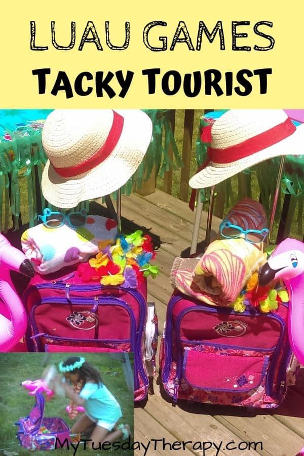 Tacky Tourist Relay Race. Luau Games for Kids, Teens, Adults