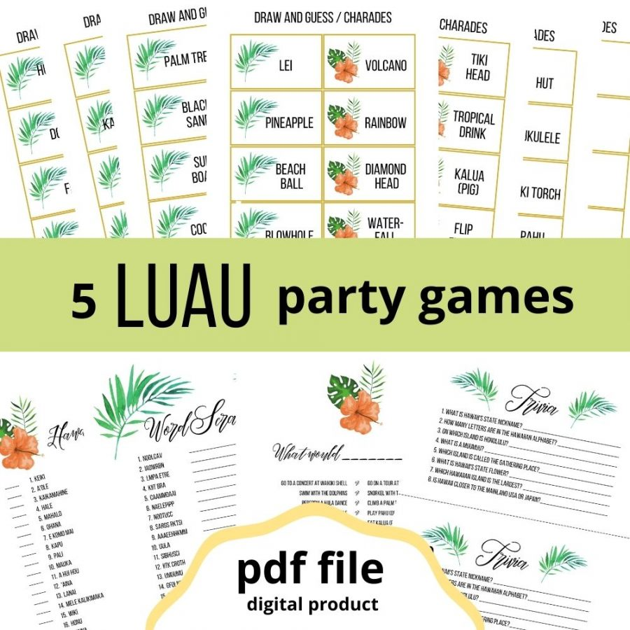 Printable luau party games. 5 luau games: draw and guess, word match, word scramble, what would... choose?, trivia