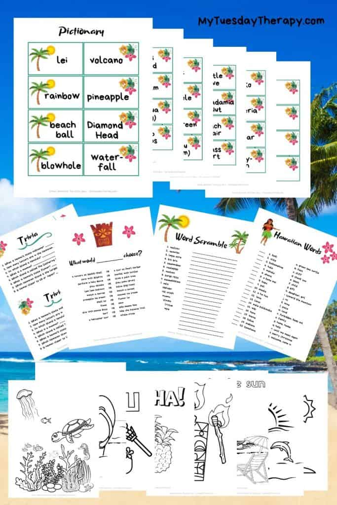 Luau party game printables and coloring pages