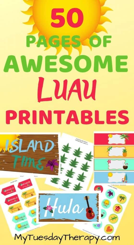 Luau party printables. Luau banner, signs, water bottle labels, donut toppers etc.