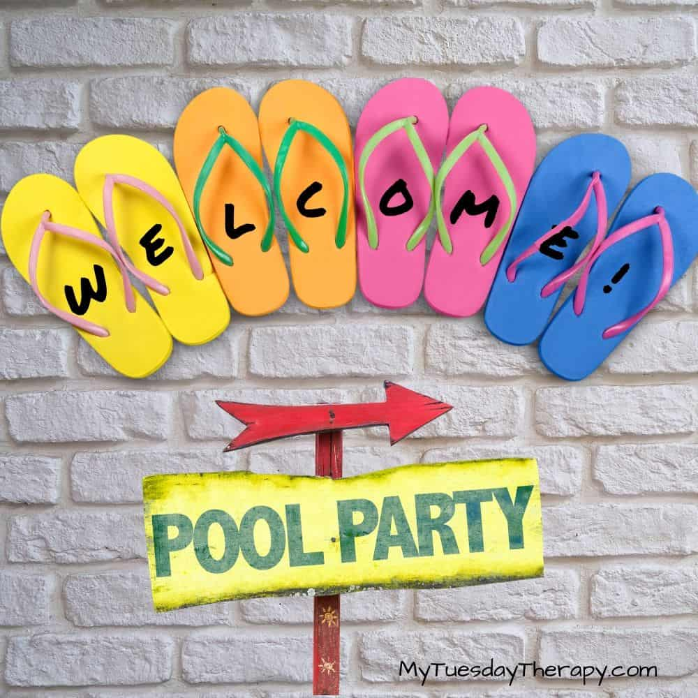 Flip Flop Welcome Sign for Pool Party