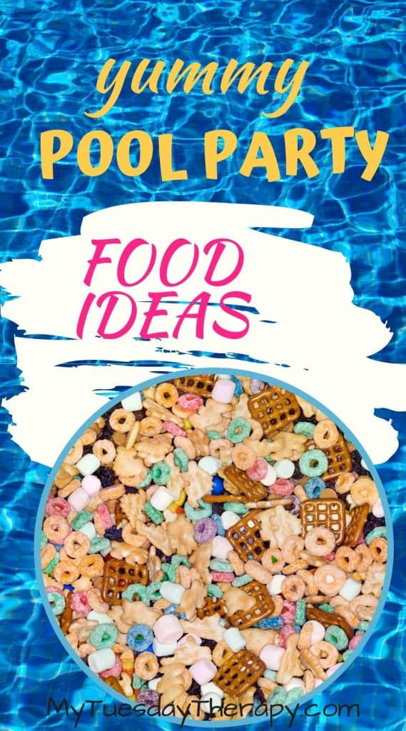Pool party food ideas. Make a fun pool party snack mix.