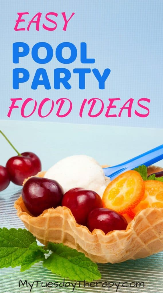 Easy pool party food ideas. Ice cream sundae in waffle bowl.