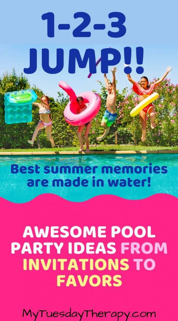 Pool party ideas from invitations to favors. 1-2-3 jump into fun! Best summer memories are made in water!