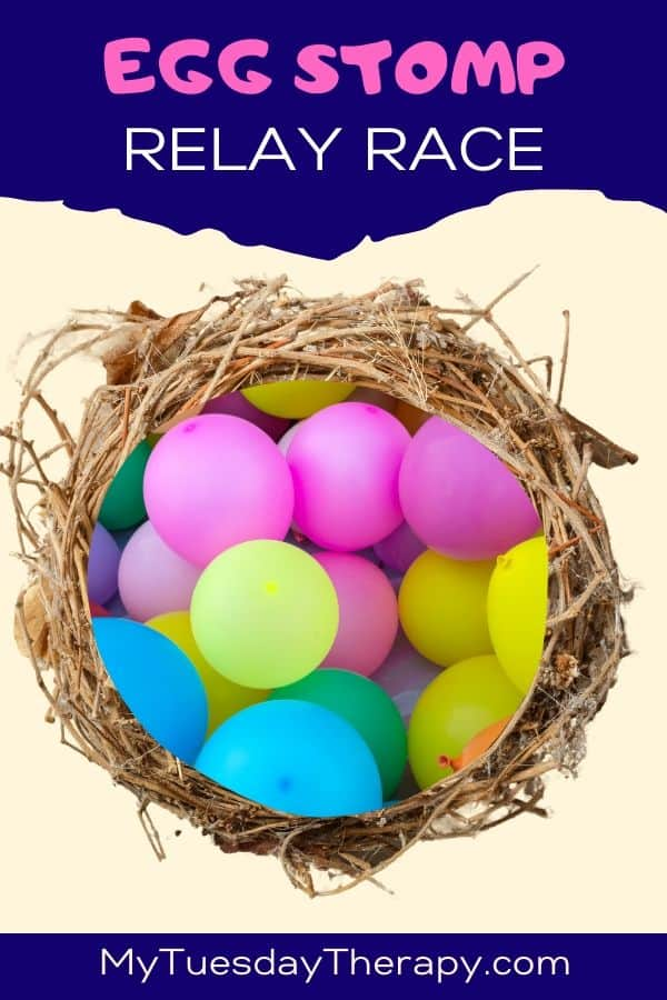 Crack the eggs relay race. A fun egg stomp game for Easter or Dinosaur party.