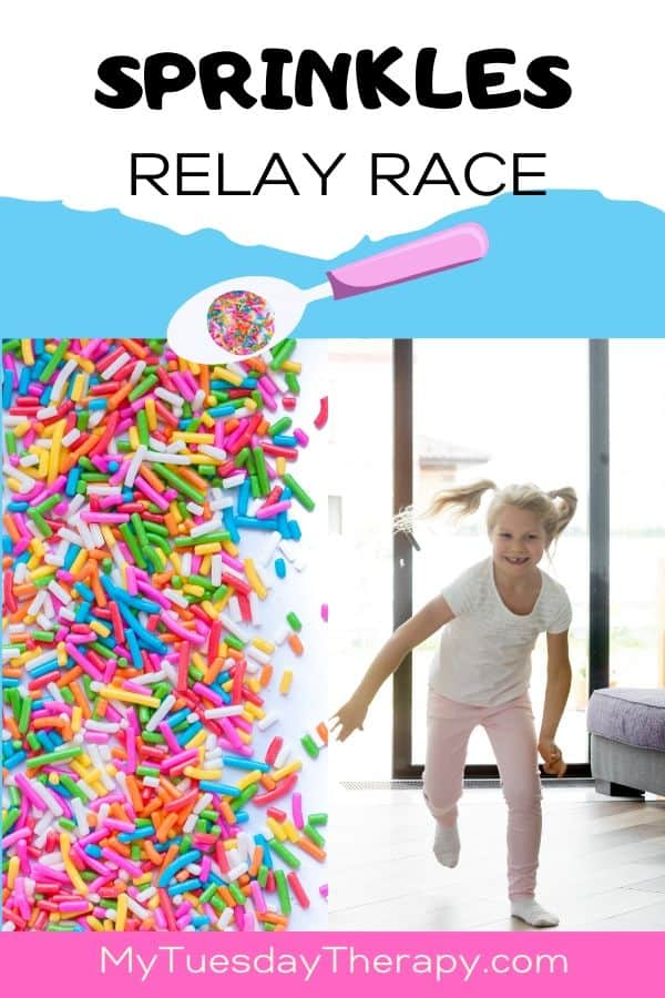 Sprinkles Relay Race Game for Ice Cream Party or Donut Party.