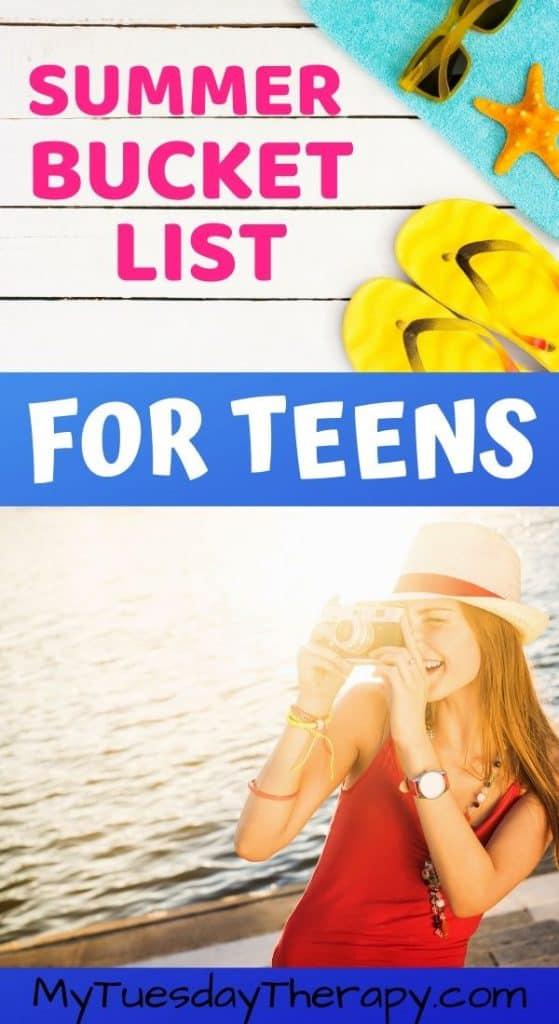 Summer bucket list for teens.