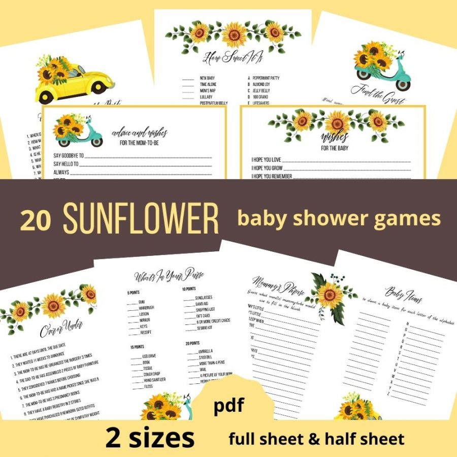 Sunflower baby shower games printable pdf. 20 sunflower baby shower games in two sizes. Printable advice and wishes cards included.