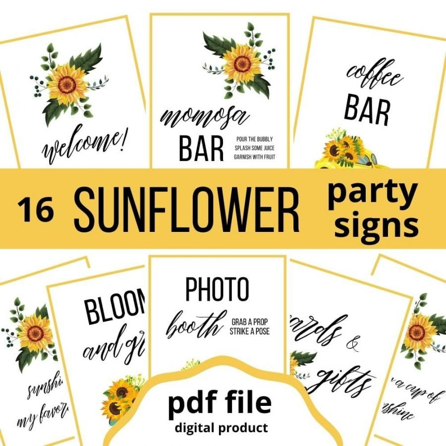 Sunflower party signs for baby shower. 16 printable sunflower themed signs including momosa bar, coffee bar, photo booth, cards and gifts, bloom and grow, welcome