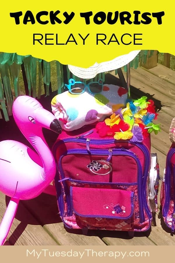 Tacky Tourist Relay Race Game for Summer Luau Party: carry-on luggage, sun hat, lei, sun glasses, towel...