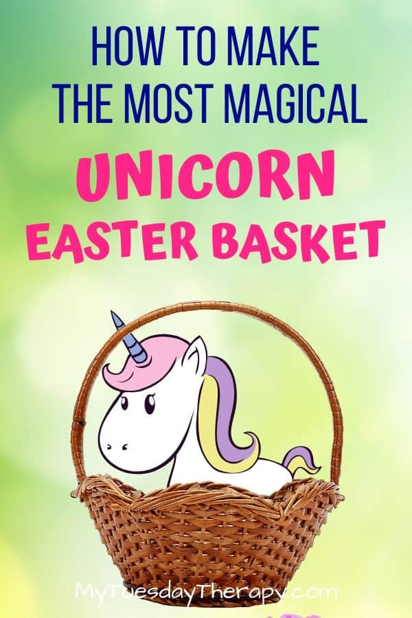How to make the most magical unicorn Easter basket for kids.