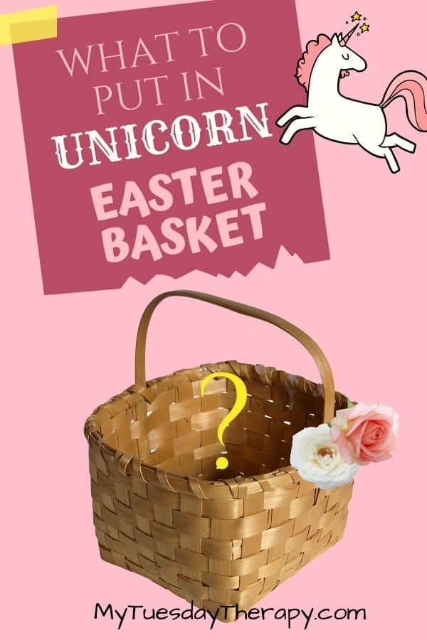 Unicorn Easter basket ideas. What to put in unicorn Easter basket. Unicorn Easter basket DIY ideas. Unicorn gift ideas for kids. Spring fun for kids. Easter basket theme idea for kids.