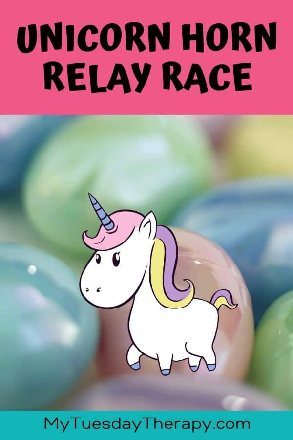 Unicorn Relay Race Game. Fun party game for kids.