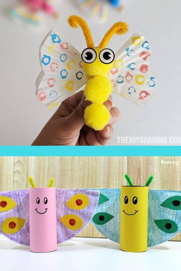 Easy butterfly crafts for kids with cupcake liners and toilet paper rolls.