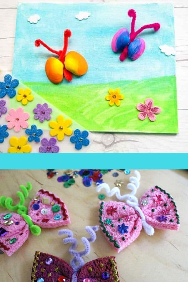 Sea Shell Butterfly Craft and Sponge Butterfly Craft