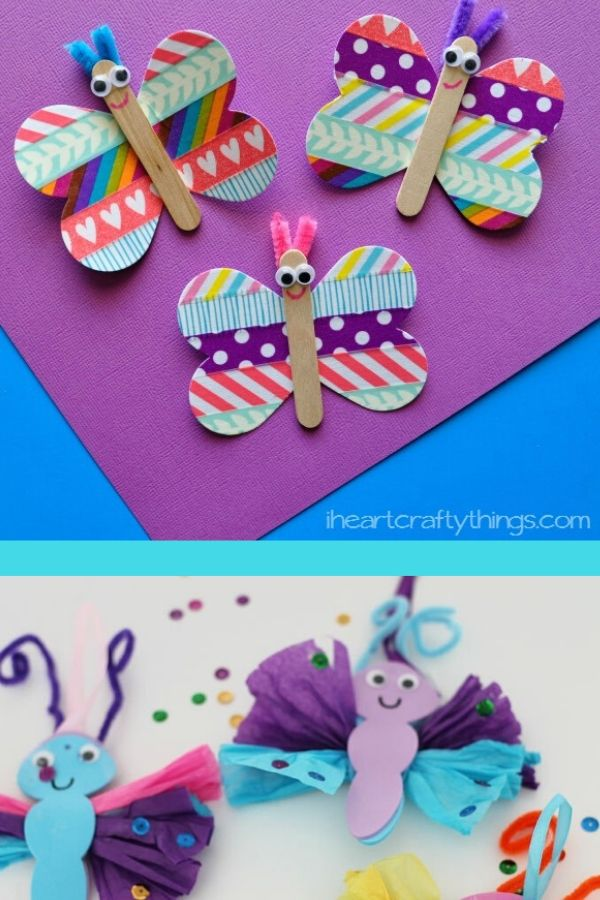 Washi Tape Butterfly Craft and Tissue Paper Butterfly Craft