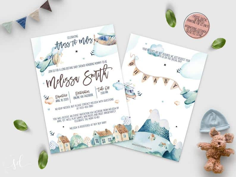 Long Distance Baby Shower Invitation for a wonderful virtual baby shower. (squishydesignsbyme)