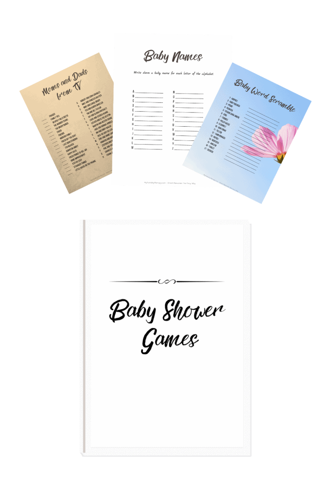 Printable baby shower games in neutral design. No background images so you can print them on any paper to match the baby shower theme.