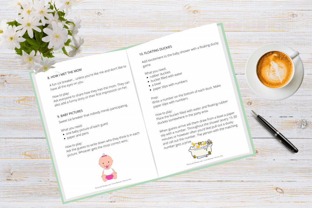 Baby Shower game ideas and a baby shower game planner.